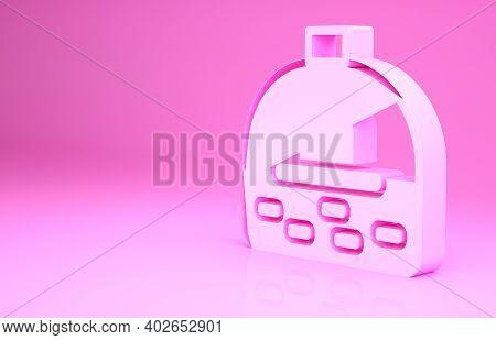 Pink Brick Stove Icon Isolated On Pink Background. Brick Fireplace, Masonry Stove, Stone Oven Icon.m