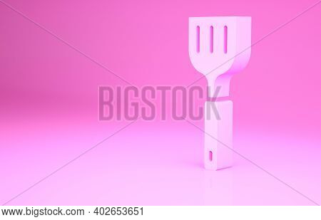Pink Spatula Icon Isolated On Pink Background. Kitchen Spatula Icon. Bbq Spatula Sign. Barbecue And