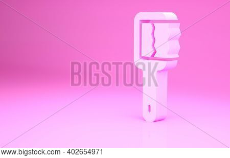 Pink Sauna Brush Icon Isolated On Pink Background. Wooden Brush With Coarse Bristles For Washing In