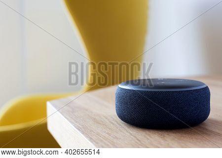 Smart Speaker, Smart Home Assistant, Smart Home Device, On Table Desk