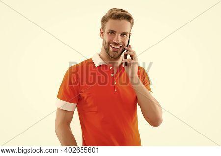 Be Communicative. Happy Guy Talk On Mobile Phone. Mobile Communication. Cellular Communication. Tele