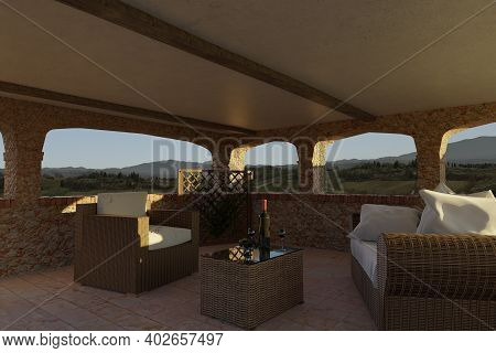 3d Rendering Of Patio In Tuscany Style Arranged With Rattan Furniture In Front Of Beautiful Tuscany