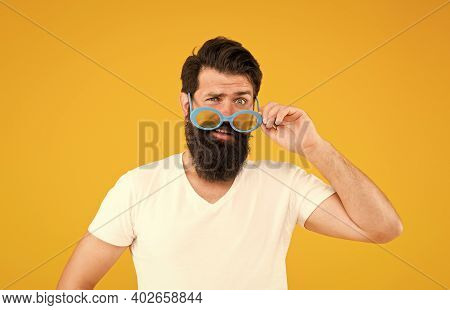 Accessory That Suits Your Individual Style. Hipster Look Through Fancy Glasses. Fashion Party Access