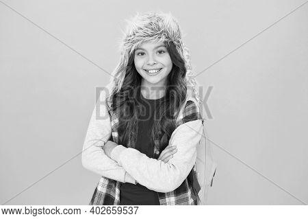 Northern Region Fashion. Eskimo Style. Soft Furry Accessory. Child Schoolgirl Long Hair Soft Hat Enj