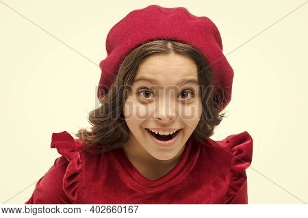Oh Really. Happy Girl. French Style Child. Parisian Girl Beret. Fashion Portrait Cute Girl Wear Tren