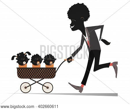 African Man With Infants In The Stroller Illustration. Proud Young African Man Carries A Stroller Wi