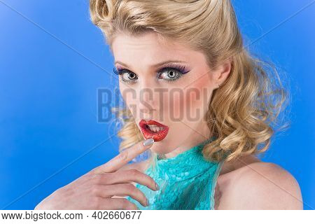 Close Up Of Pin Up Girl. Pin Up Make Up. Retro Style. Woman In Retro Style. Sensual Retro Woman. Bri