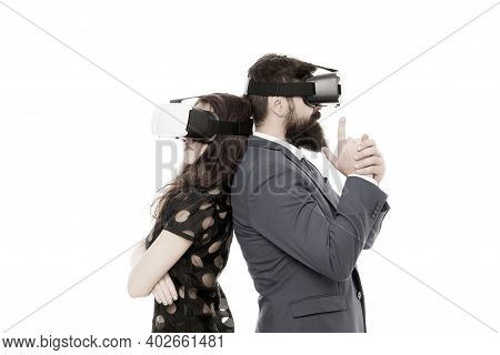 Business Implement Modern Technology. Couple Colleagues Wear Hmd Explore Virtual Reality. Business P