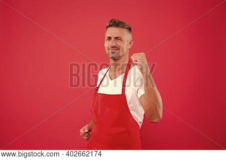 Yes, We Did It. Cheerful Mature Waiter Celebrate Success. Waiter In A Restaurant. He Will Take The O
