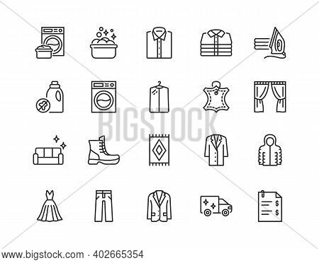 Dry Cleaning Flat Line Icon Set. Laundry Service Symbol. Editable Strokes