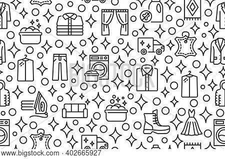 Dry Cleaning And Laundry Seamless Pattern With Flat Line Icons.