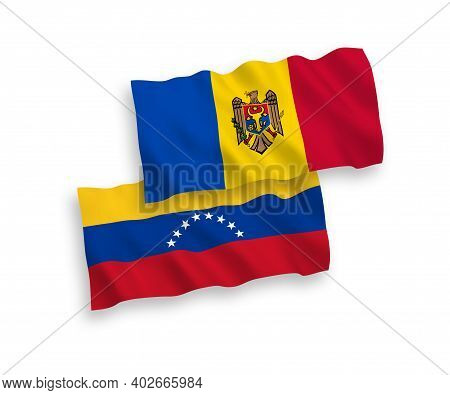 National Fabric Wave Flags Of Venezuela And Moldova Isolated On White Background. 1 To 2 Proportion.