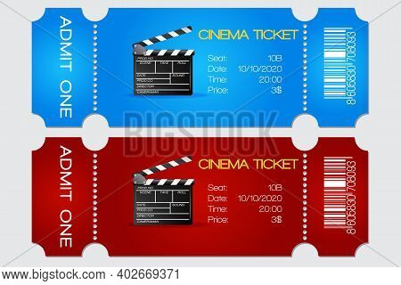 Cinema Ticket, Red And Blue Ticket. Vector Isolated Illustration On Grey Background