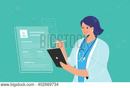 Electronic Patient Profile Or Online Medical Consulting On Digital Tablet. Smiling Female Doctor Wea