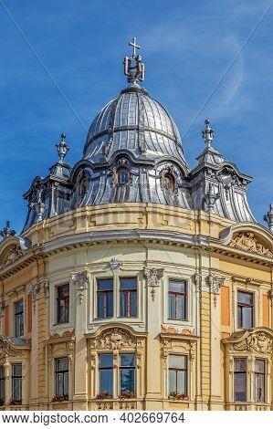 Cluj-napoca, Romania - September 20, 2020: One Of The Two Twin Buildings, Unique In Transylvania. Iu