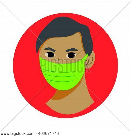 Green Face Medical Mask In Red Circle, Protection Wear From Coronavirus, Air Pollution, Dust, Sign F