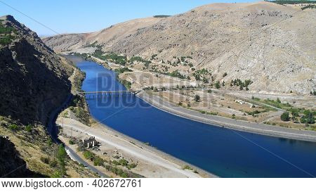 View On The Euphrates River In Turkey Near The Ataturk Dam. Together With The Tigris, The Euphrates