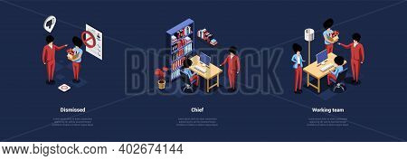 Set Of Three Compositions In Cartoon 3d Style On Dark Background. Isometric Vector Illustration With