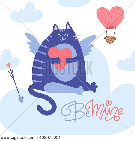 Valentines Day Greeting Card, Cupid Cat Heaving A Break On The Cloud With Cupid Arrow And Heart. Vec