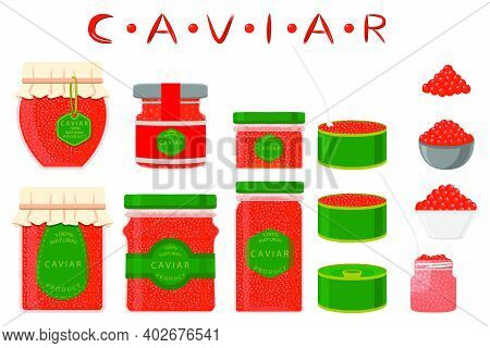 Illustration On Theme Big Set Various Types Fish Caviar, Metal Can Different Size. Metal Can Consist