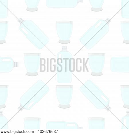 Illustration On Theme Set Identical Types Plastic Bottles For Drinking Water. Water Pattern Consisti