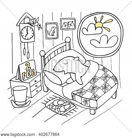 Funny Illustration In Doodle Style For Celebration Groundhog Day. Groundhog Sleeping In A Bed Near W