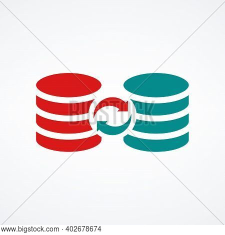 Server Databases Icon With Sync Data Circle Arrows, Data Sync Symbol. Stock Vector Illustration Isol