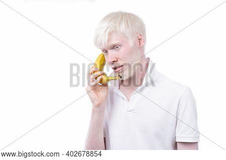 Happy Albino Man White Skin Hair Studio Dressed T-shirt Isolated White Background. Abnormal Deviatio