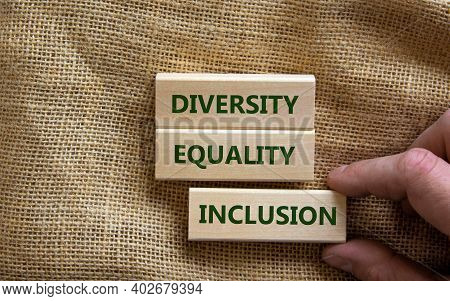 Diversity, Equality And Inclusion Symbol. Wooden Blocks With Words 'diversity, Equality And Inclusio