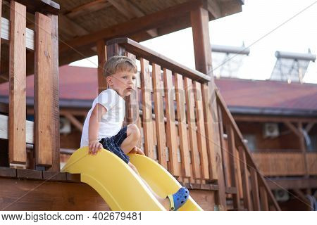 Little Boy Slide Playing Playground Active Childhood Enjoy Summertime Caucasian Kid Have Fun Outdoor