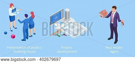 Isometric Construction Project Management. Professional Contractors And Engineers Characters. Buildi