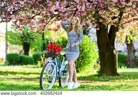 Spring Freshness. Vintage Bicycle For Pleasant Walk In Park. Fashion Woman Enjoy Spring Nature. Spri