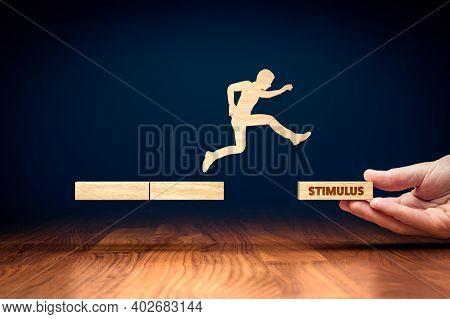 Economic Stimulus During Covid-19 Era Helps Company To Survive Economic Downturn. Businessman Carry