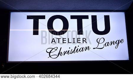 Warsaw, Poland. 10 January 2021. Sign Totu Atelier Christian Lange. Company Signboard Totu Atelier C