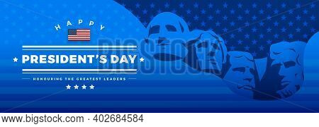 Presidents Day Banner Blue Background Vector Illustration With Lettering Happy President's Day And R
