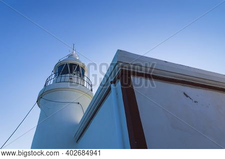 Whitewashed Lighthouse Keeping A Smal Museum In The Natural Park Serra Gelada In Albir, Costa Blanca