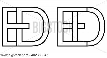 Logo De Ed Icon Sign, Two Interlaced Letters D E, Vector Logo De Ed First Capital Letters Pattern Al
