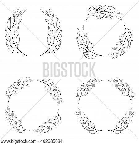 Set Of Borders Photo Frame Circle Laurel Wreath. Decorative Elements Vector Laurel Wreath Winner