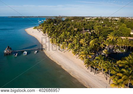View From The Height Of The Coast And The Pier Of The Island Of Mauritius In The Indian Ocean