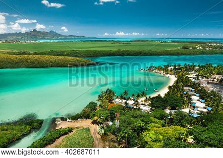View From The Height Of The East Coast Of The Island Of Mauritius In The Indian Ocean. Beautiful Lag