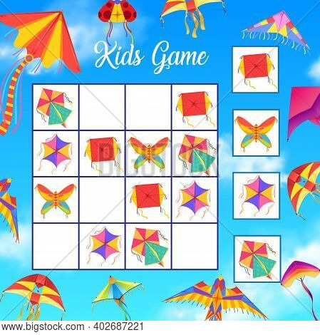 Kids Crossword Or Logical Game With Paper Kites. Child Riddle Or Puzzle, Children Educational Game,