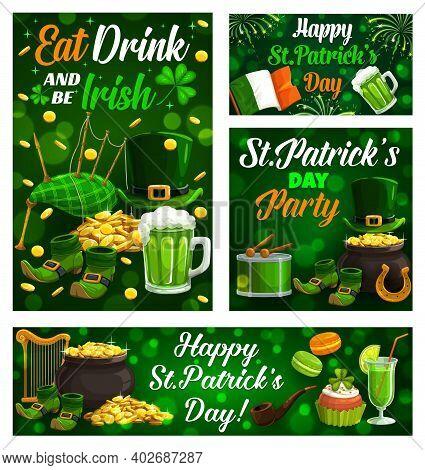 Happy Saint Patrick Day, Celtic Holiday Celebration Shamrock Clover Leaf Posters. Vector Eat, Drink