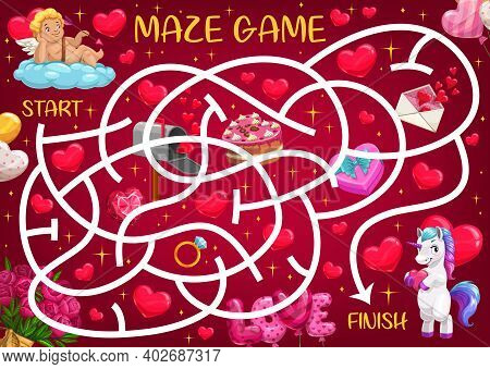 Saint Valentine Day Maze For Kids With Cupid, Unicorn And Romantic Gifts. Child Educational Playing