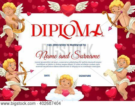 Saint Valentines Day Kids Diploma Template With Cherubs Characters. Child Kindergarten Diploma, Chil