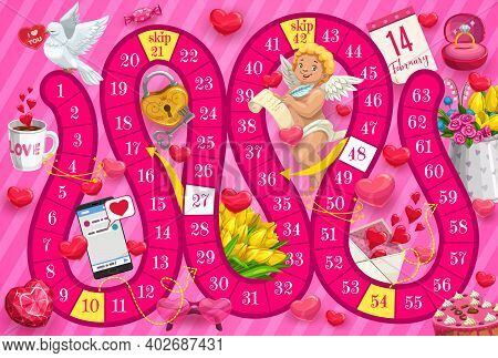 Kids Saint Valentine Day Boardgame With Cupid And Romantic Gifts. Child Board Game With Finding Way