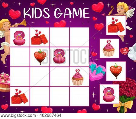 Saint Valentine Day Children Logical Puzzle With Romantic Gifts. Child Rebus Game, Kid Crossword Or