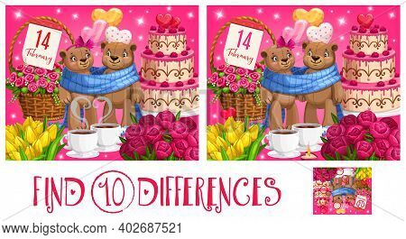 Valentine Day Children Find Ten Differences Puzzle Game. Kids Playing Activity With Search And Compa