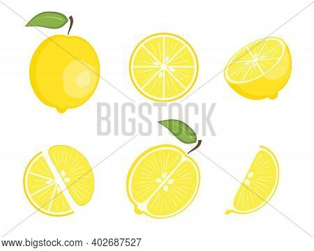 Set Of Flat Vector Yellow Whole Lemon And Fruit Slices - Split In A Half Along And Across, Circle An