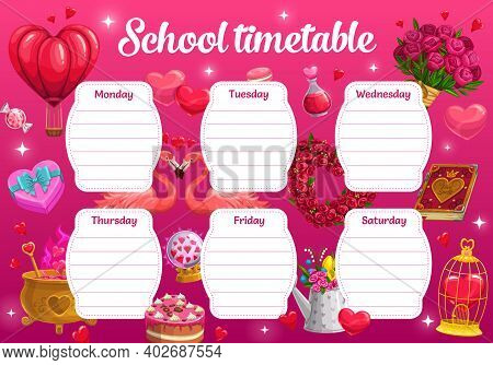 Saint Valentine Day School Timetable With Romantic Gifts And Love Potions. Child Classes Daily Plann