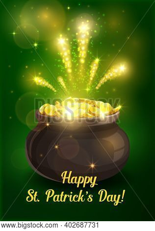 St Patricks Day Irish Leprechaun Gold Pot Vector Design Of Religion Holiday. Celtic Elf Or Dwarf Tre